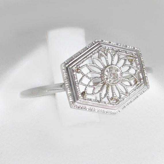 white gold diamond ring, art deco diamond ring, an