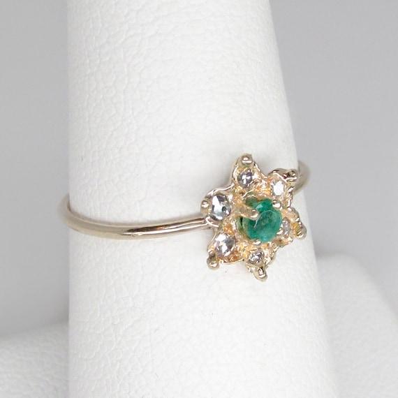 emerald ring, emerald diamond ring, emerald flowe… - image 3