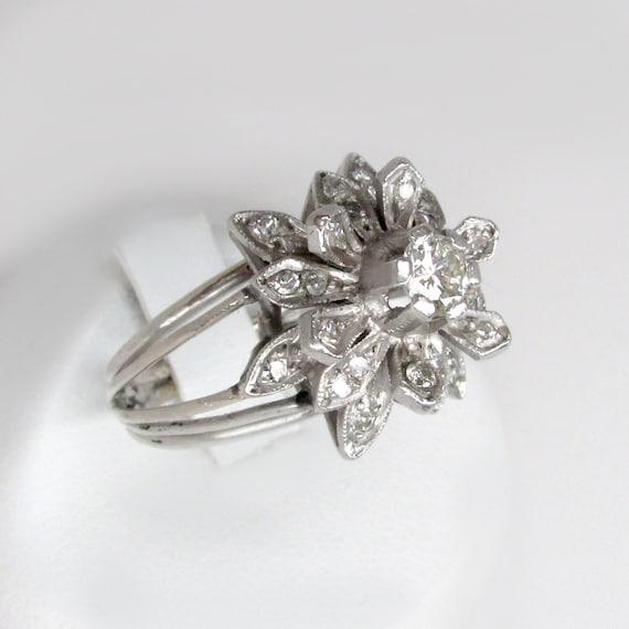 art deco diamond ring, palladium ring, art deco fl
