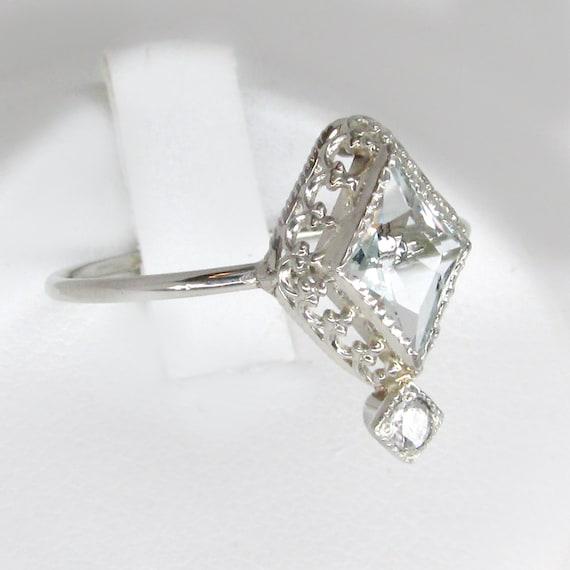 aquamarine ring, white gold aquamarine ring, aquam