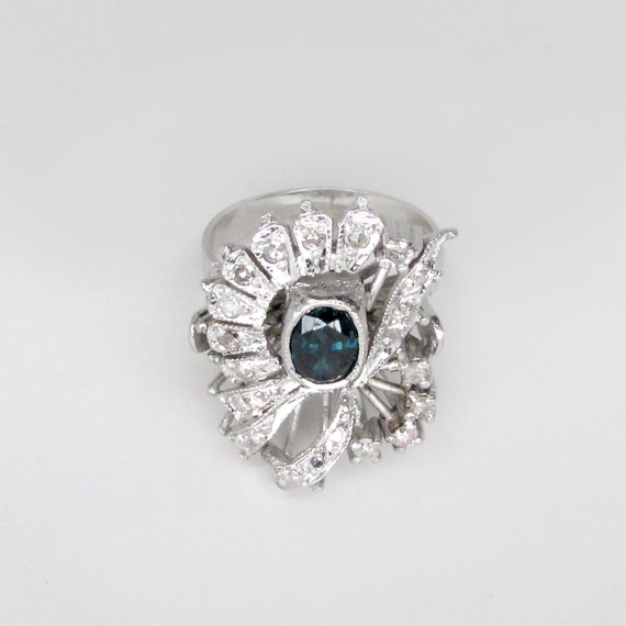 sapphire ring, sapphire damond ring, art deco sap… - image 7
