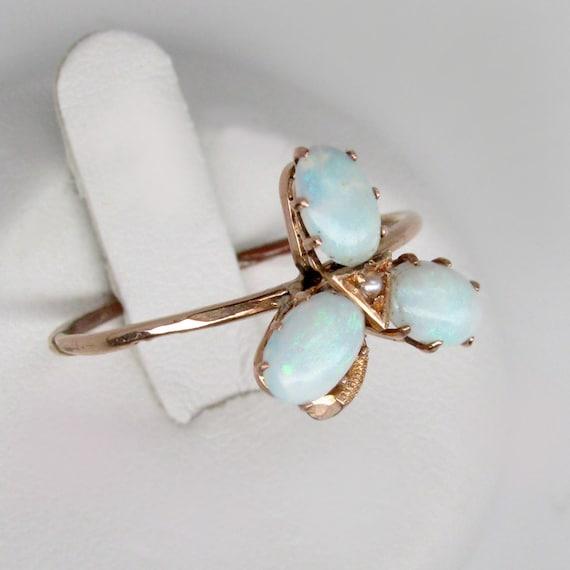 gold opal ring, art deco ring, Australian opal rin
