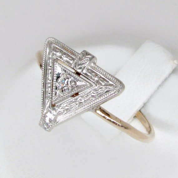 gold diamond ring, art deco diamond ring, art deco