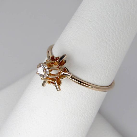 gold diamond ring, antique diamond ring, gold sol… - image 3