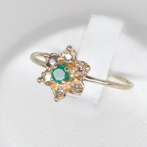 emerald ring, emerald diamond ring, emerald flowe… - image 1