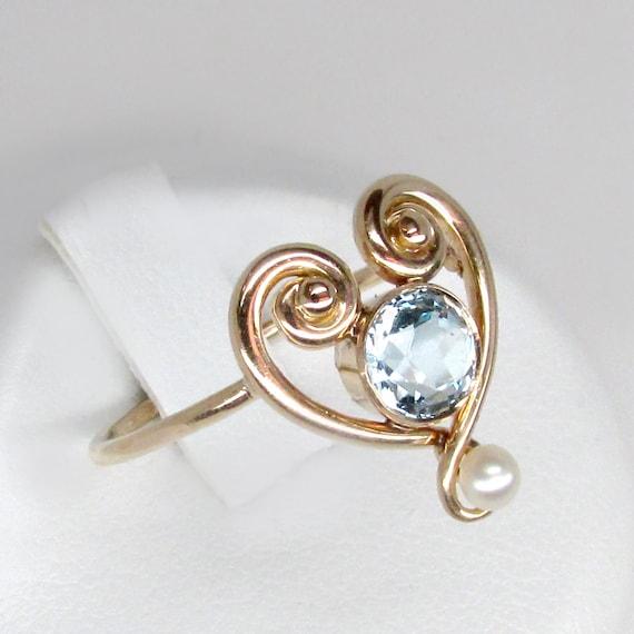 gold aquamarine ring, aquamarine ring, aquamarine