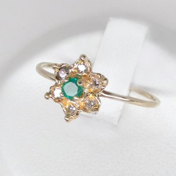 emerald ring, emerald diamond ring, emerald flowe… - image 6