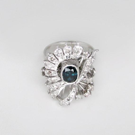 sapphire ring, sapphire damond ring, art deco sap… - image 2