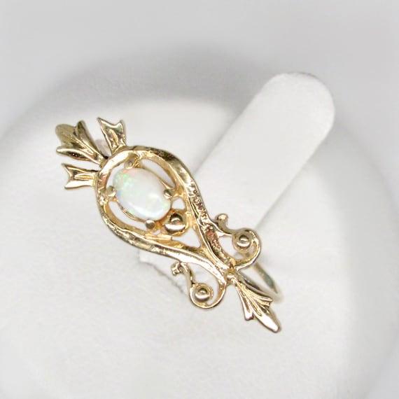 gold opal ring, art nouveau opal ring, size 6.5 op
