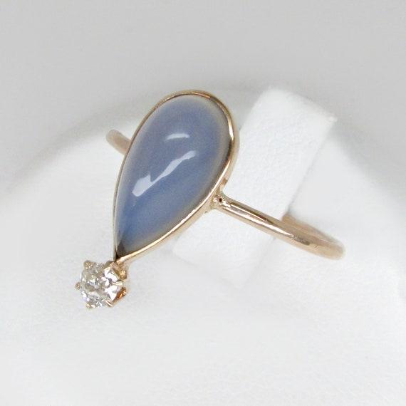 chalcedony ring, rose cut diamond ring, art deco r