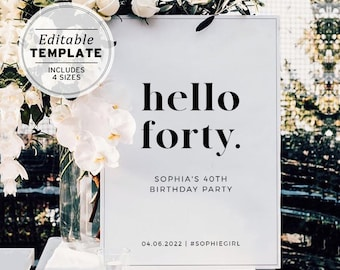 HELLO FORTY Minimalist 40th Party Welcome Sign | Editable Template, Printable #001