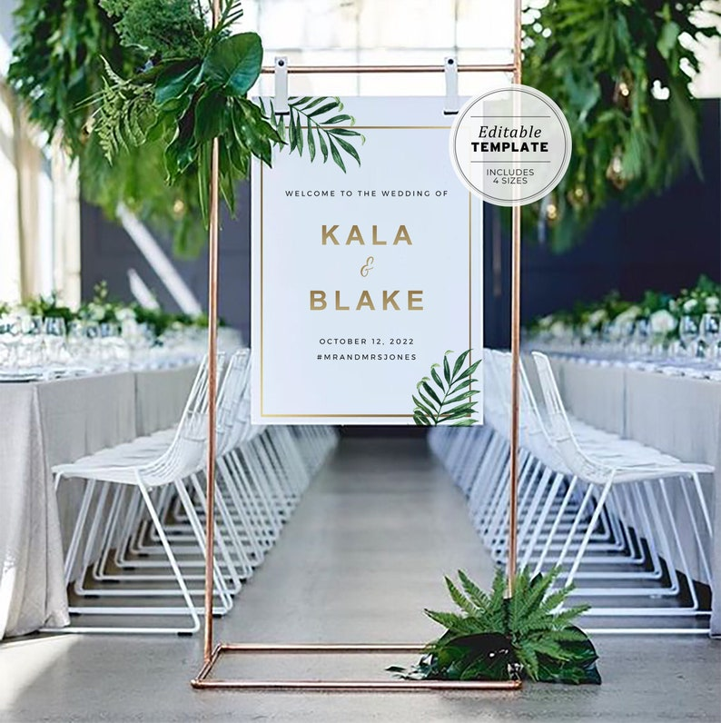 Kala Tropical Palm Leaf & Gold Wedding Welcome Sign Printable image 0