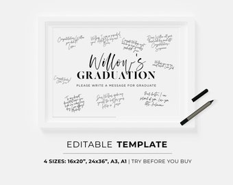 Graduation Party Guestbook Poster Template | PRINTABLE, EDITABLE TEMPLATE