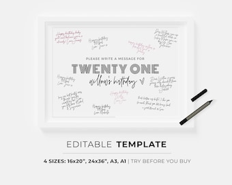 21st Birthday Guestbook Poster Template | PRINTABLE, EDITABLE TEMPLATE