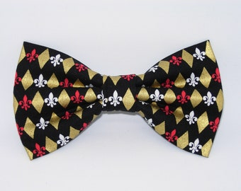 f2df6467ae00 Fleur De Lis Bow Tie, Metallic Gold Diamonds, Military Bow tie, Boy Scouts,  Pre-tied Bow tie, Bow ties for Men, Boys Bow tie, Girls Hair Bow