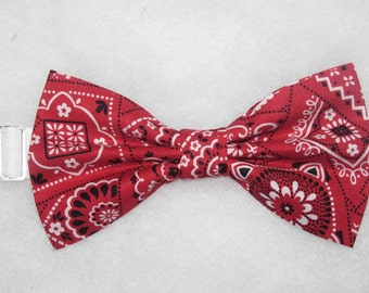 96d9c70e41b9 Red Bandana Bow Tie, Crimson Red, Western Bandana, Pre-tied Bow tie, Cowboy  Birthday Party, Rodeo Bow ties, Bow ties for Men, Boys Bow tie