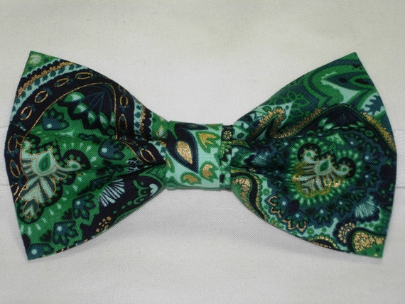 Pre-tied Bow tie Metallic Gold Green Wedding Emerald Green Paisley Bow Tie