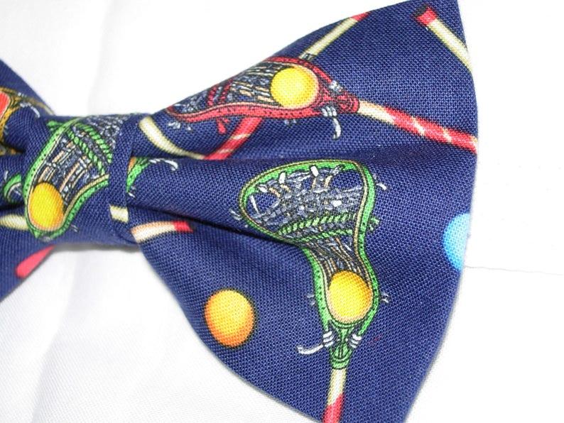 04ce9606fbbb Lacrosse Bow Tie Lacrosse Sticks on Blue Pre-tied Bow tie | Etsy