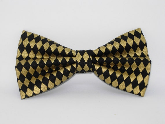 Metallic Gold /& Fleur De Li Bow tie Military Scouting Pre-tied Bow tie