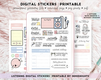 Digital Stickers & Printable - Listening | Minimalist pastel colored currently listening, music, podcast, audiobook stickers