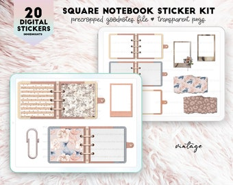 Digital Stickers - Square Notebooks Vintage | Neutral earth toned square notebook pngs for digital journaling