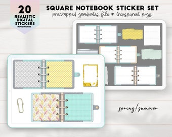 Digital Stickers - Square Notebooks Spring Summer | Notebook pngs clipart for digital journaling