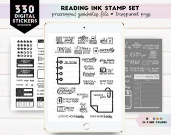Ink Stamp Digital Stickers - Reading | Minimalist stickers in neutral colors | Currently Reading Books