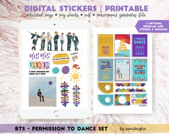 BTS Permission to Dance Digital Sticker | Printable | BTS Handdrawn Stickers Paint and Paper Texture for KpopJournal
