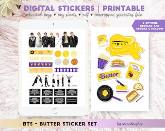 BTS Butter Digital Sticker | Printable | BTS Handdrawn Stickers Crayon Style for KpopJournal and GoodNotes Elements