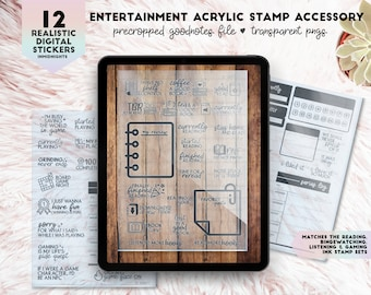 Digital Acrylic Stamp - Entertainment | Realistic Digital Desk Accessory Clear Stamp Stickers | Reading, Watching, Listening, Gaming