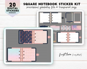 Digital Stickers - Square Notebooks First Love | Navy Blue & Blush colored square notebook pngs for digital journaling