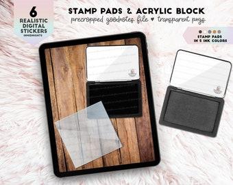 Digital Stamp Pad & Acrylic Block Stickers | Digital Desk Accessory Stickers
