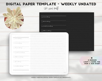 Digital Paper Template - Weekly | Dark & Light mode undated weekly in Monday and Sunday start with minimalist grid and dotted design