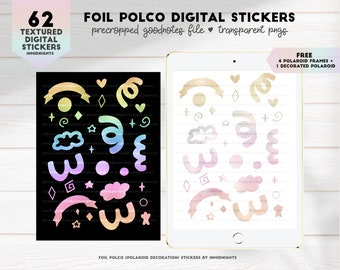 Polco Digital Stickers in Rainbow & Pastel Gold Foil Texture | FREE Polaroid Frames | Handdrawn Kpop Polco for GoodNotes Elements