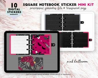 Digital Stickers -  Pink Halloween Square Notebooks Mini Kit | Pink Black dark paper for digital journaling