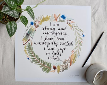 Watercolor Affirmation Poster  I AM STRONG   Nursery Decor   Religious Artwork
