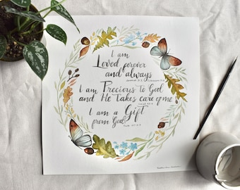 Watercolor Affirmation Poster I AM LOVED   Nursery Decor   Religious Home Decor