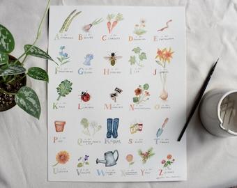 Garden Watercolor Alphabet