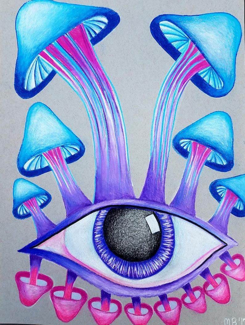 Mushroom art mushroom drawing colored pencil art colored pencil drawing eye art abstract art trippy art original drawing