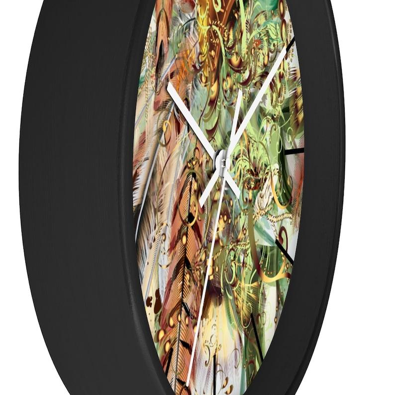 Office Wall Clock Unique Wall Clock Wooden Wall Clock Kitchen Wall Clock Bohemian Exotic Feather Wall Clock Minimalist Wall Clock