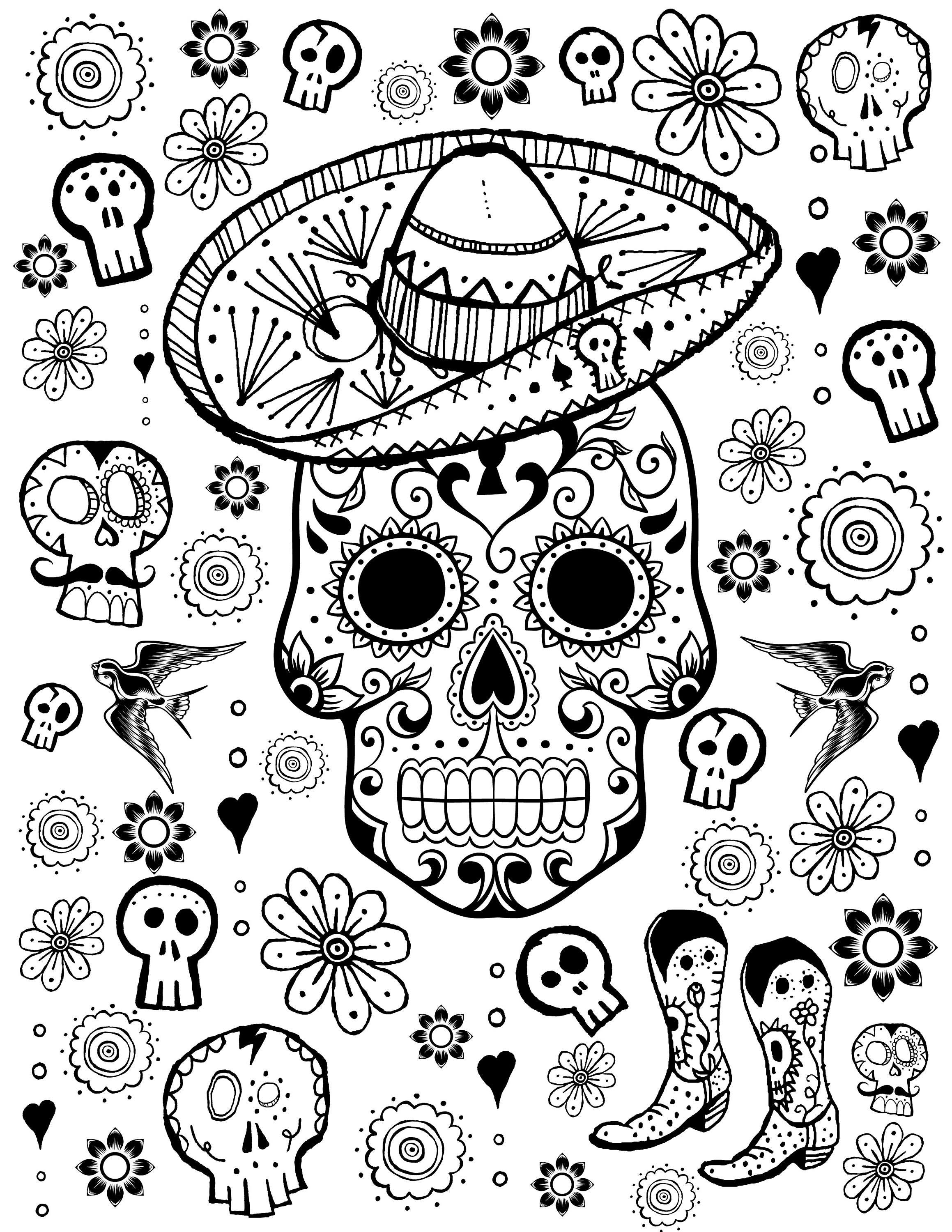 - Printable Coloring Page Kids Coloring Book Day Of The Dead Etsy