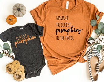 Unique Baby Girls Fall Pumpkin Matching Mommy and Me Shirts