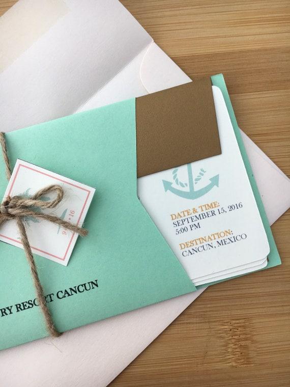 4.5 Piece Destination Wedding Theme with Metallic Envelopes Wedding Boarding Pass Invite