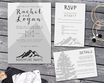 Wedding Invitation, Mountain Wedding Invitation Suite, Mountain Wedding Invitation, Woodland Invitation, Forest Wedding Invitation, Mountain