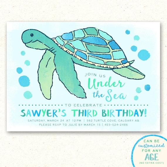 Under the sea invitations turtle birthday invitation sea etsy image 0 filmwisefo