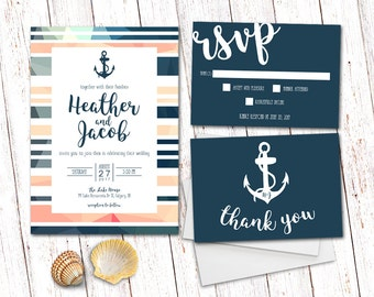 Wedding Invitation, Nautical Wedding Invitation, Anchor Wedding Invitation, Nautical Invitation, Nautical Wedding Invitation Suite, Anchor
