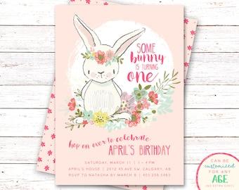 Bunny Birthday Invitation, Bunny Invitation, First Birthday Invitation, Bunny Party Invitations, Girl Birthday Invitations, Bunny Party
