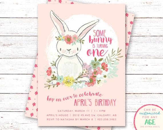 bunny birthday invitation bunny invitation first birthday etsy