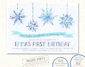 Frozen Birthday Invitation, Frozen Birthday Invitations, Snowflake Invitation, Snowflake Birthday Invitation, Winter Wonderland Invitation