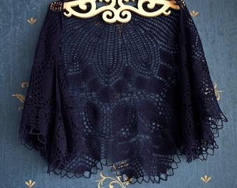 Navy blue shawl,Hand Knitted Shawl ,Party scarf,Wedding shawl,Women Shawl,Wool Shawl,Handmade Shawl,wedding shawl,bridesmaids shaw
